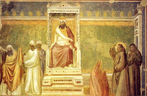 This painting by Giotto illustrates the famous challenge made before the Sultan. Saint Francis entered the enemy camp and challenged the Muslim priests to go into the fire with him to see which one represented the true religion. The Muslims refused.