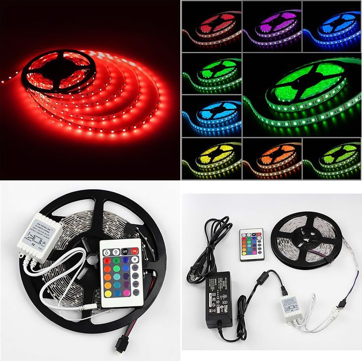 16.4ft SMD 3528 RGB Color Changing 300LED Flexible Strip Light With IR Remote Control :  - LED type: SMD 3528 - LED quantity: 300 LED - Strip length: 5m(16.4ft )  - Light color: RGB (Red Green Blue) Flash SMD LED - Viewing angle: 120° - Consumption: 2.4W/m - Input: DC 12V - Storage temperature: -40 ~ +80 - Operating temperature: -25 ~ +60 - Lumens: 900LM - Lifetime: 50,000+ hours  - Size: W10*H2mm - Level : Non-Waterproof - Power Supply: AC/DC ADAPTOR INPUT 100-240V 0.5A OUTPUT 12V 2.0A