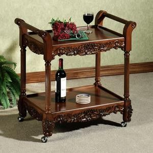 kitchen serving cart white island with butcher block top rolling victoriana wood drink carts cheap