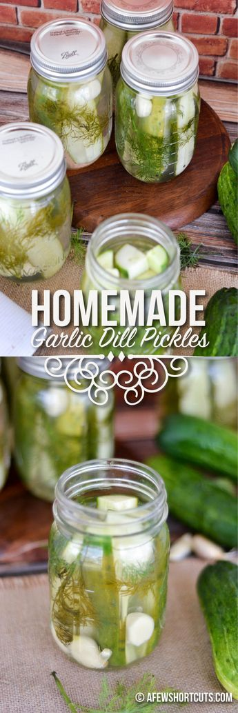 Grab some cucumbers and make you own Homemade Garlic Dill Refrigerator Pickles with this simple recipe! These are great for snacks or with lunches!