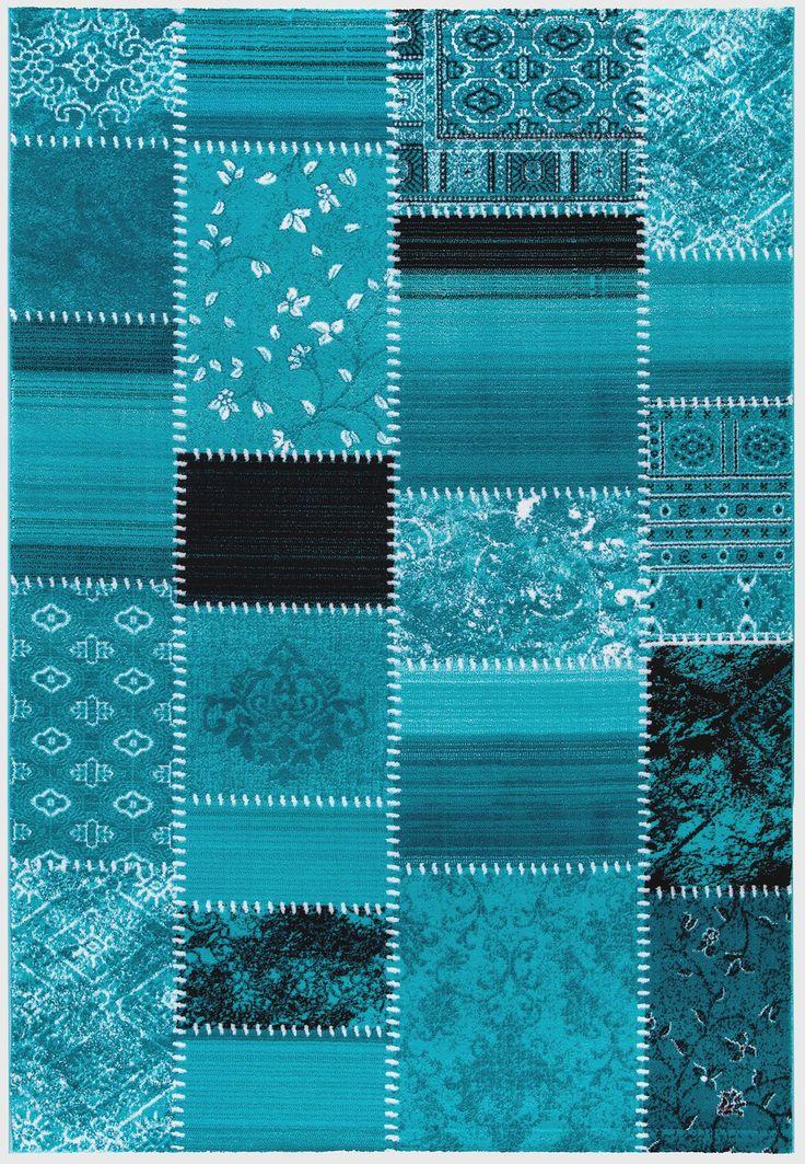 Designerteppich vintage in kurzflor - weiche strapazierfähige Moderne Teppiche mit Ornamenten - orientalischer Teppich als Design Teppich von sehrazat teppich - Maya 3820 türkis - bei mynes Home kaufen