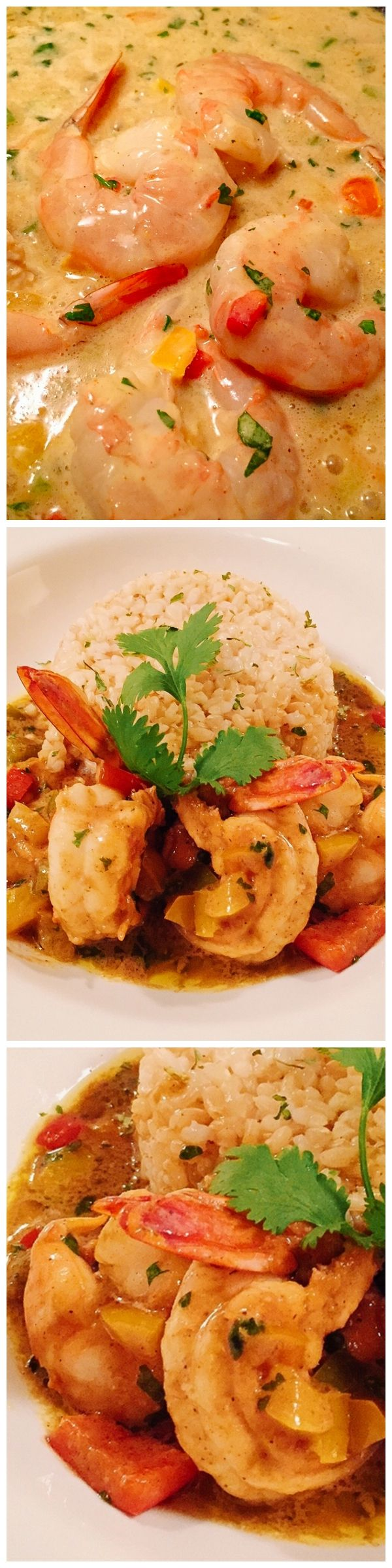 You can't go wrong with this dinner dish. Curry Coconut sauce with shrimp and brown rice.