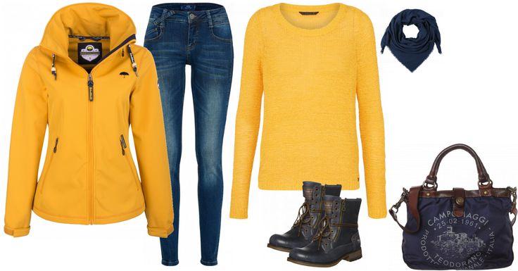 Sehr cooles und lässiges Outfit für die Freizeit. Die Blue-Jeans wird mit einem kuscheligen Pullover in sonnengelb getragen. Die Jacke von Schmuddelwedda passt hervorragend dazu. So kommt Farbe in den Alltag. Die beliebten Schnürboots von Mustang werden durch die Tasche zusätzlich unterstrichen. Die beiden Teile harmonieren nahtlos miteinander. Als Accessoires dient das einfarbige Tuch. Ein super bequemer und lockerer Look. :)