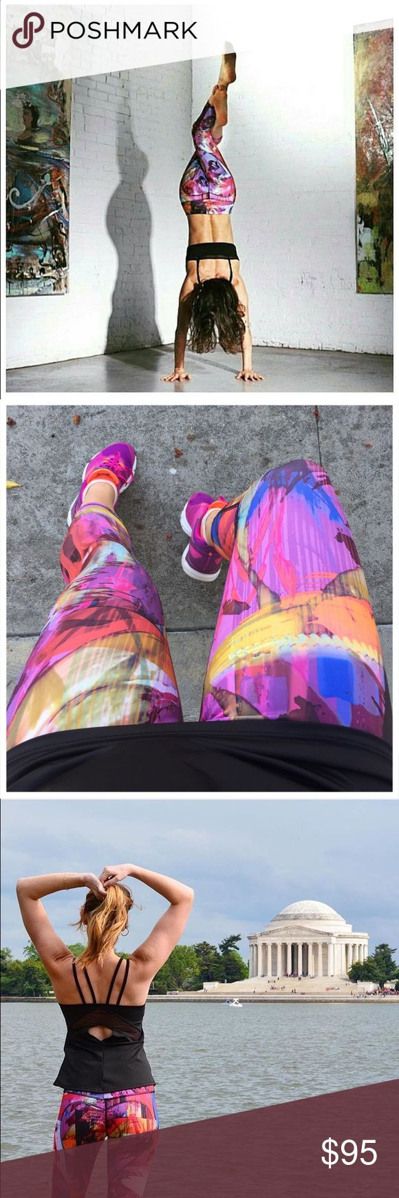 Abstract Paint Heart Butt Capris Limited Summer edition - bright abstract print, made from soft compression jersey. Made for all low-high impact activities, made in LA Nina B Roze Pants Capris