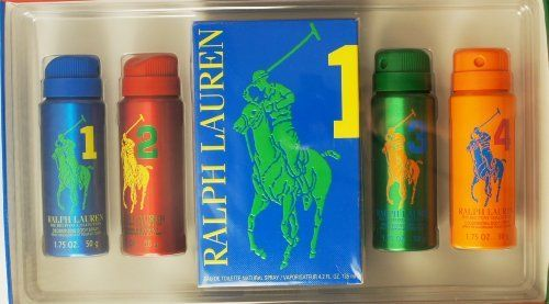 RALPH LAUREN POLO 5-Piece The Big Pony Collection Deodorizing Body Spray Gift Set for Men (Four 1.75 OZ each & Number 1 4.2 OZ EDT SPRAY) by Polo Ralph Lauren. $109.99. RALPH LAUREN POLO 5-Piece The Big Pony Collection Deodorizing Body Spray Gift Set for Men (Four Deodorant Body Spray 1.75 OZ each & POLO Number 1 size 4.2 OZ EDT SPRAY):     MADE IN CANADA  The Set includes BIG PONY #1, BIG PONY #2, BIG PONY #3, and BIG PONY #4 Deodorizing Body Spray, each 6 OZ Size.     MA...