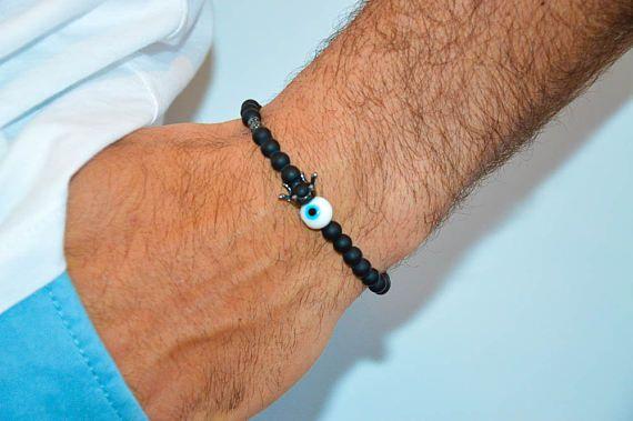 Crowned Evil Eye Bracelet Men, Matte Black Bracelet, Men's Jewelry, Gift for Him, Made in Greece by Christina Christi Jewels.