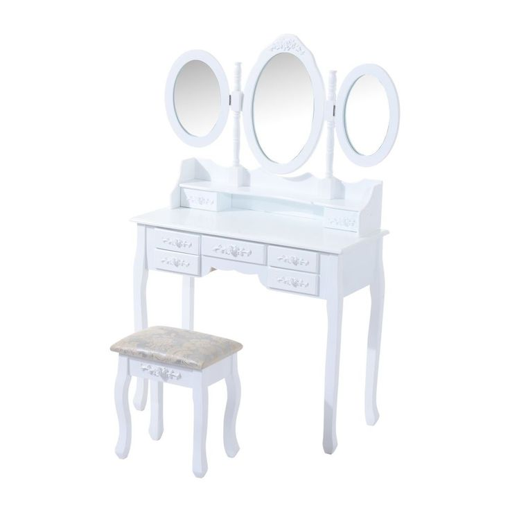 Womens Vintage Dressing Table Set White Wooden Vanity Makeup Desk Stool Mirror