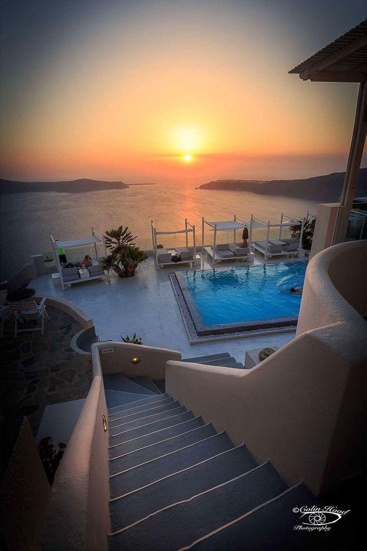 Sunset in Fira, Santorini, Greece
