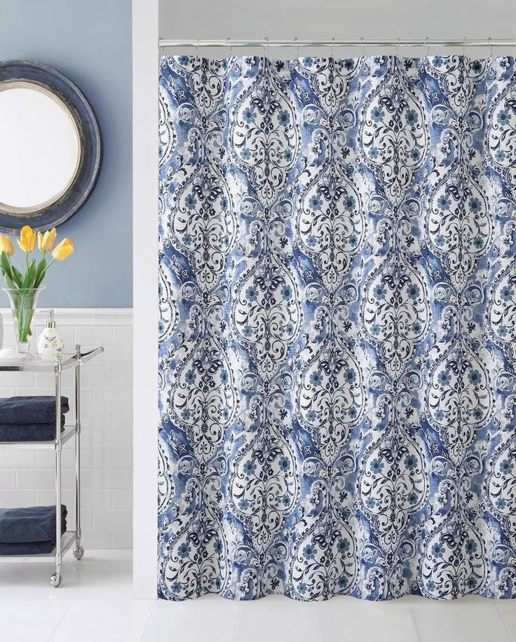 Beau Blue White Victorian Floral Damask Fabric Shower Curtain