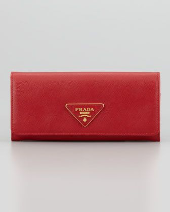 Saffiano Triangle Continental Flap Wallet, Red by Prada