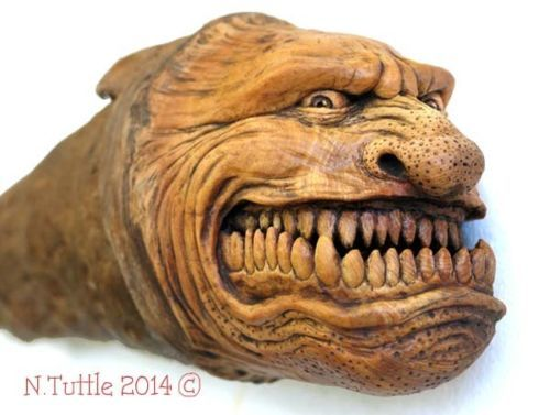Original wood spirit carving stretched gargoyle horror