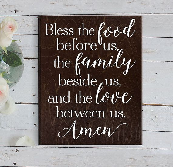 Kitchen Signs Sayings: Bless The Food Before Us Sign Wood Sign Kitchen Wall Decor