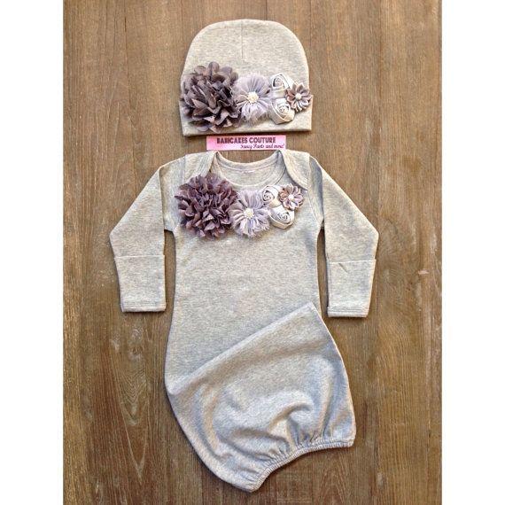 A Babicakes Couture Exclusive Original Design Couture Newborn Take Home Outfit!  Super Soft Heather Gray Couture Take Home Outfit ~ Gorgeous meets Comfort!