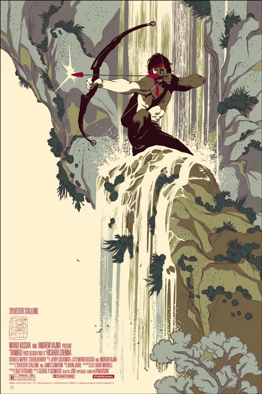 Rambo: First Blood Part II poster by Tomer Hanuka for Mondo. I've never been a big fan of Stalone movies but this is a beautiful poster.