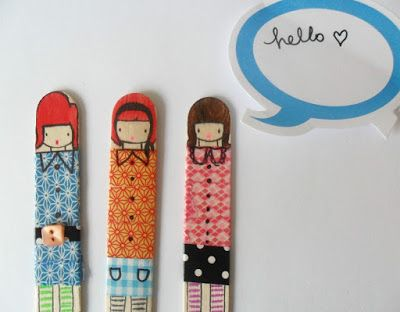 teawagontales: miss lolly dolly......how to make these with popsicle sticks and washi tape