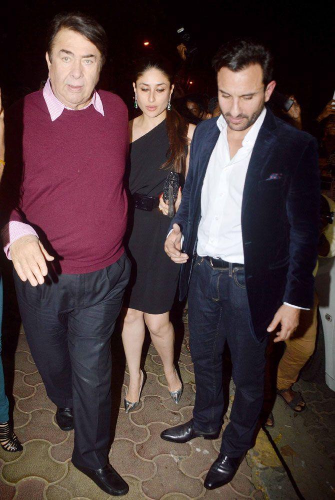 Randhir Kapoor, Kareena Kapoor Khan and Saif Ali Khan at Randhir Kapoor's birthday bash. #Bollywood #Fashion #Style #Beauty