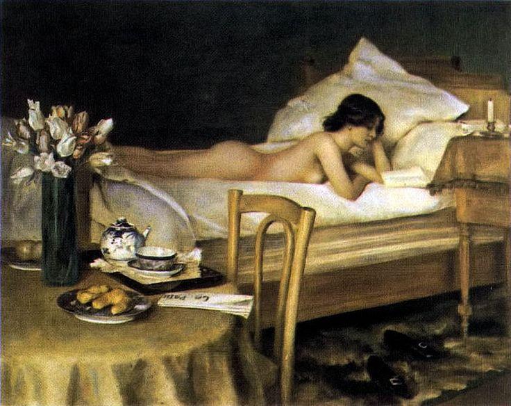 Der Bücherwurm (The Bookworm), 1906, by Hermann Fenner-Behmer (1866–1913).: Reading In Bed, Hermann Fennerbehm, Reading Art, Der Bücherwurm, Woman Reading, Hermann Fenner Behm, Franz Eybl, German Artists, Reading Woman