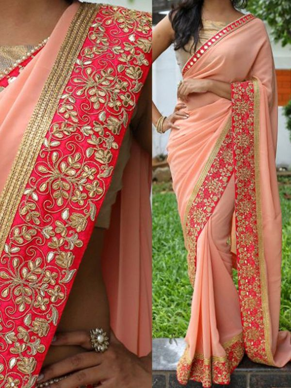 Subtle Peach Georgette Designer Saree comes with Golden Color Raw Silk Blouse. It contained the Embroidery work with Mirrow Work lace border. The Blouse can be customized up to bust size 44