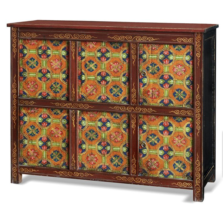 China Furniture Online Elmwood Cabinet, Hand Painted Floral Motif Tibetan  Style High Chest Distressed Orange And Red