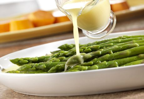 Let the flavor of the fresh vegetable shine through when you combine chicken broth and butterto make alight and flavorfulglaze to coat tender-crisp asparagus. This recipe goes from fridge to table in just 15 minutes.