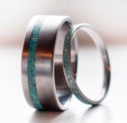 Your fiance would LOVE this band. Cute his and hers wedding bands!