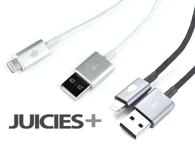 JUICIES+ for iPhone, Android, BlackBerry and Windows Phones by Laurens Laudowicz — Kickstarter.  Anodized Aluminium, Tangle Free Woven Cable and MFi Certification. It's the perfect match. Simply the cable Apple should have made! 4ft long cable (a foot more than the Apple cable).