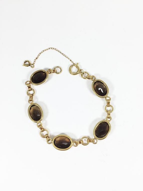 12k Gf Smokey Quartz Bracelet Brown Gemstones Faceted Oval Bezels Vintage 1940s 1950s 12 Karat Gold Filled Gift For Her Birthday Anniversary Quartz Bracelet Brown Gemstone Smokey Quartz