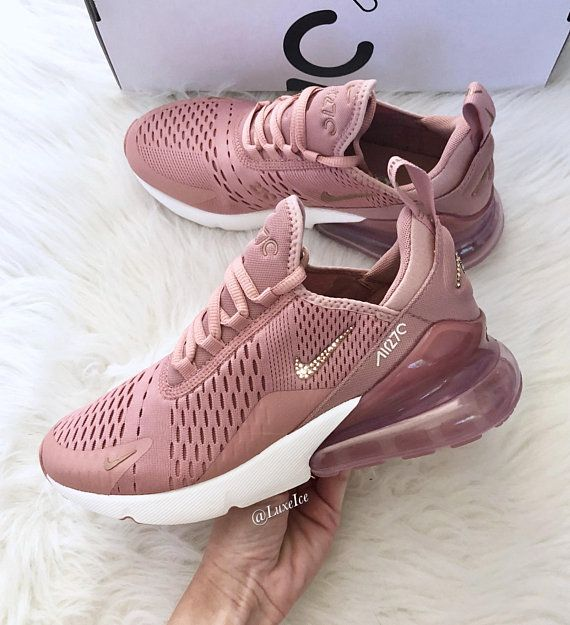 Swarovski Nike Air Max 270 Rust Pink/Metallic Red Bronze/Sail customized with Rose Gold SWAROVSKI® Xirius Rose-Cut Crystals