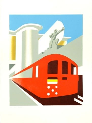 Love the lino cuts produced by artist and illustrator, Paul Catherall, for London Transport. We're lucky to have this one of that East Finchley mascot, The Archer.
