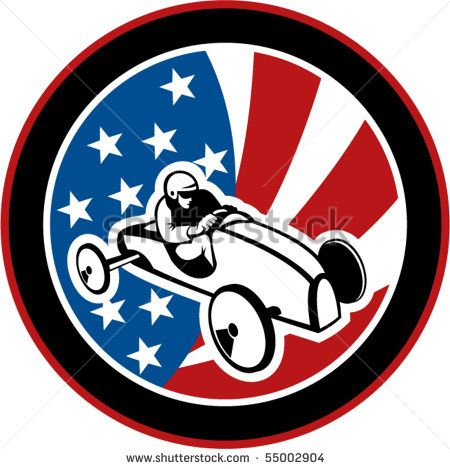 vector illustration of an american Soap box derby car with stars and stripes in the background. #soapboxderby #etro #illustration