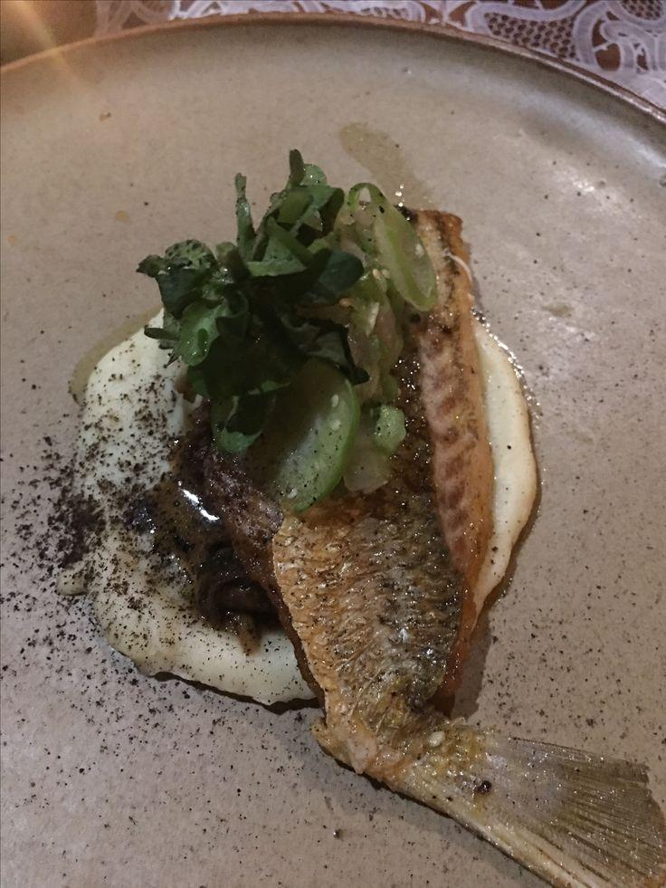 Pescado en salsa verde, hongos de lluvia y chirivia #Fondafina #CocinerosMexicanos