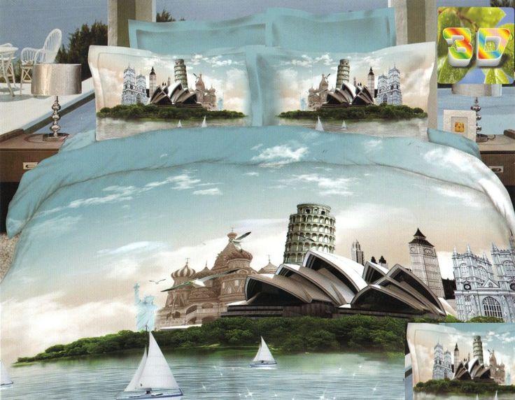 Elegancka jasnoniebieska pościel do sypialni z miastem Sydney