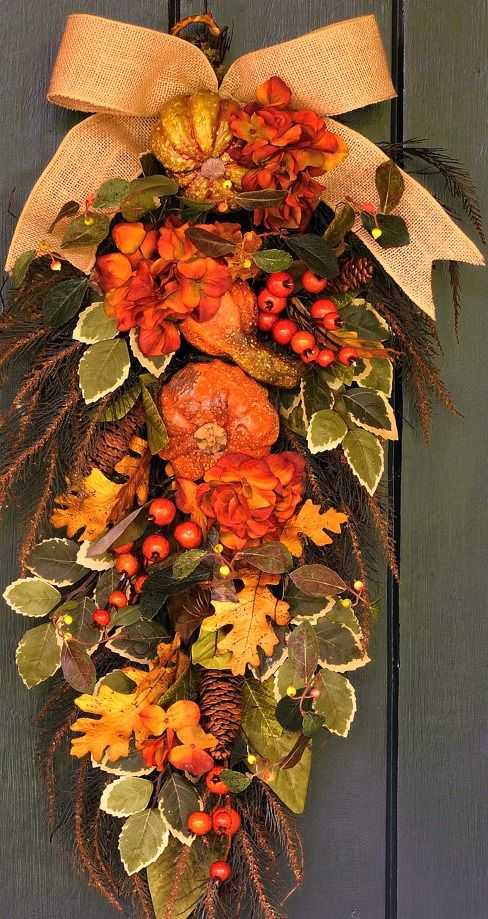 fall swag....Outdoor decorating ideas for the front porch.