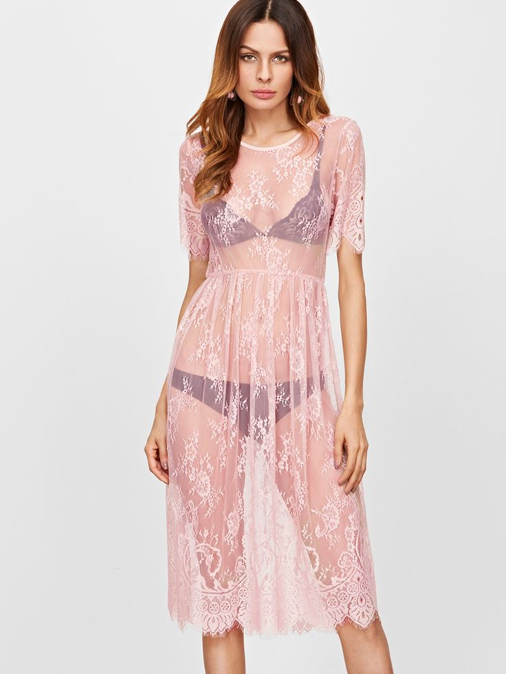 Shop Pink Split Back Sheer Floral Lace Dress online. SheIn offers Pink Split Back Sheer Floral Lace Dress & more to fit your fashionable needs.