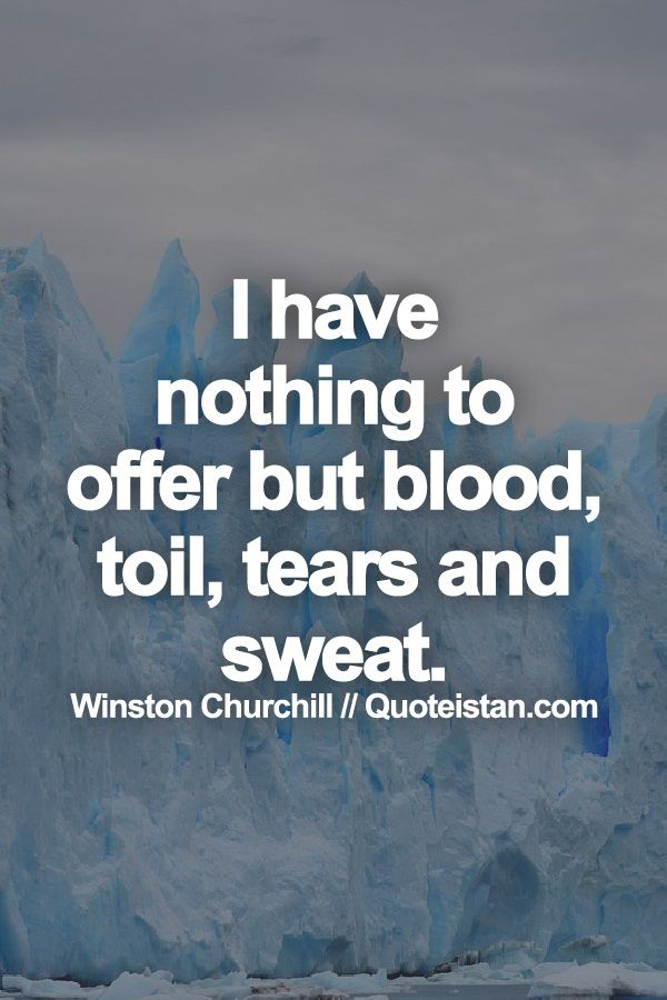 I have nothing to offer but blood, toil, tears and sweat.                                                                                                                                                                                 More