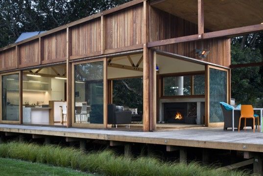 This is still one of my all-time favorites.....simplicity, green-built, open. New Zealand Island Home Built On Stilts To Avoid Flooding | Inhabitat - Sustainable Design Innovation, Eco Architecture, Green Building