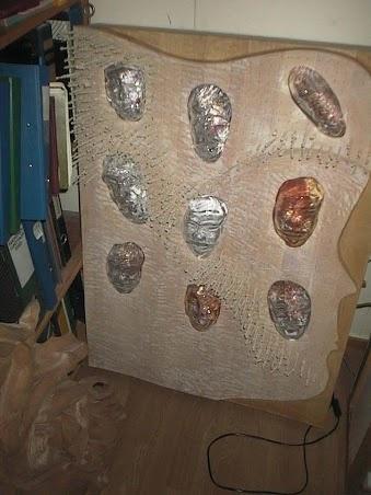 Wooden/glass sculpture with illumination 100cm x120cm x 15cm