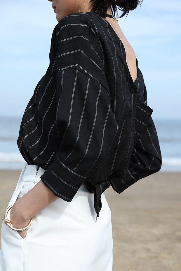 High Low V Neck Striped Blouse