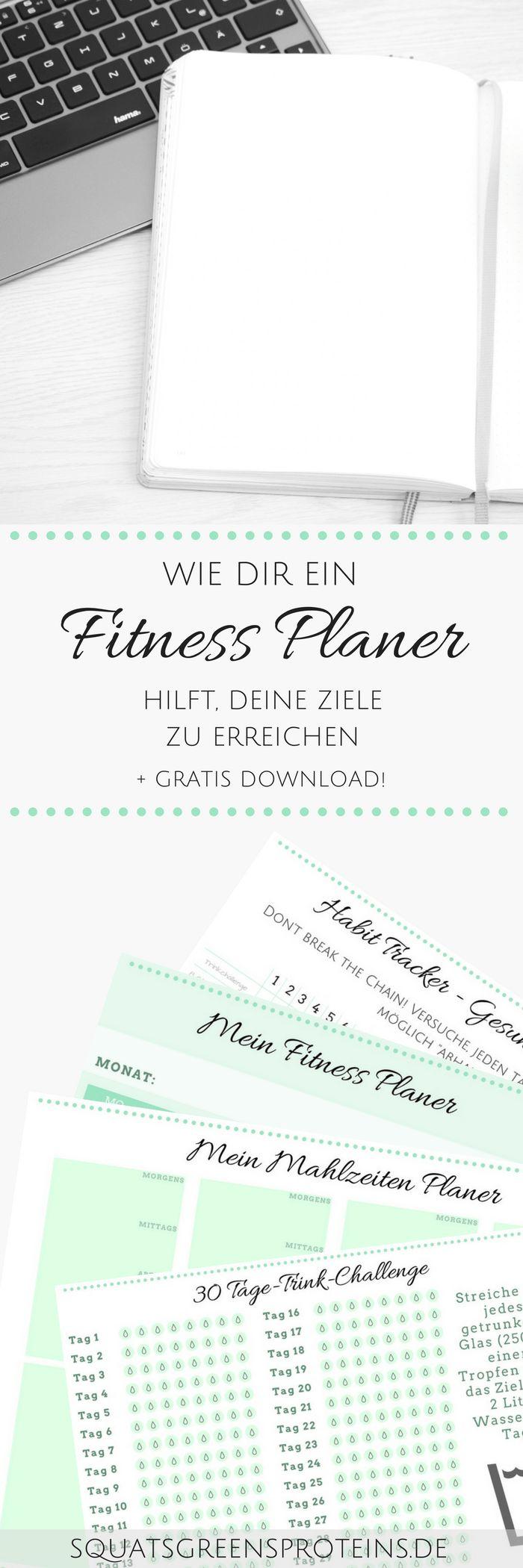 Wie dir ein Fitness Planer dabei hilft deine Ziele zu erreichen - Download Freebie - Fitness Abnehmen Zunehmen Muskelaufbau Kalender - Squats, Greens & Proteins
