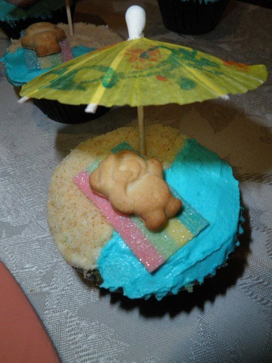 My beach themed cupcakes as party favours for the adults attending