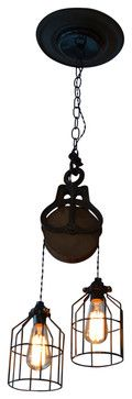Industrial Wood and Steel Barn Pulley Light - industrial - Kitchen Lighting And Cabinet Lighting - West Ninth Vintage