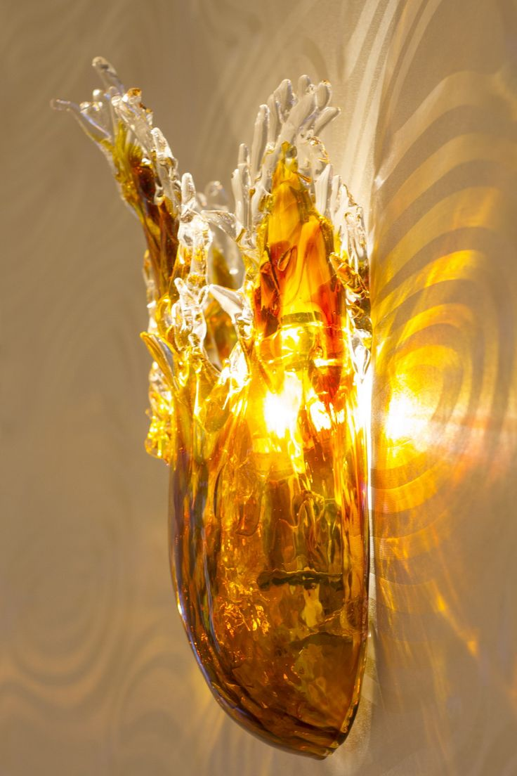 Wall lamp made of hand blown glass. Serial production. Hotel LOWE, Piešťany, Slovakia.