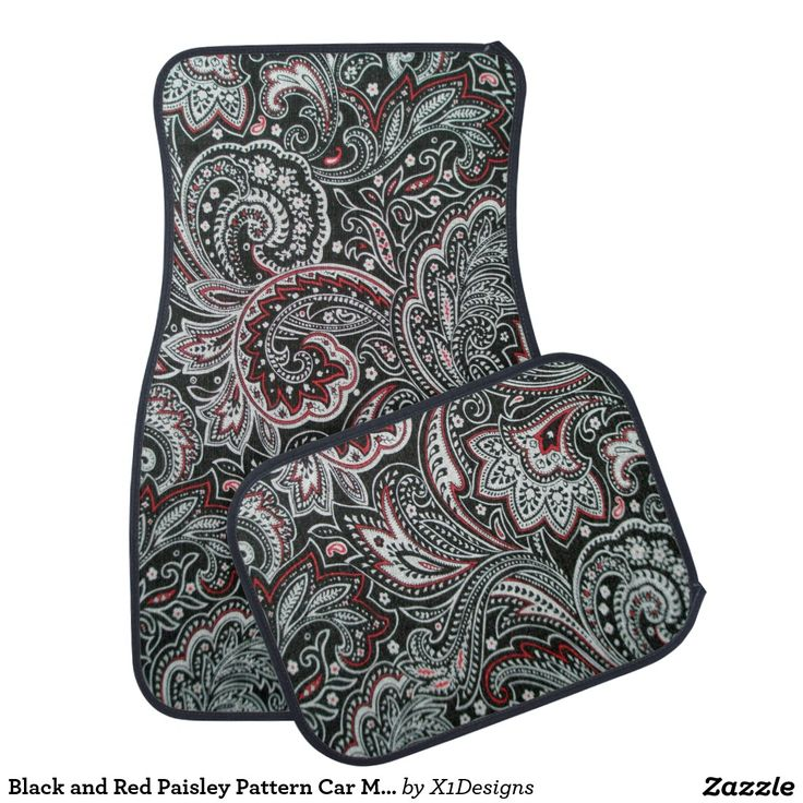 Black and Red Paisley Pattern Car Mats - Great Swirl Design - Car Bling