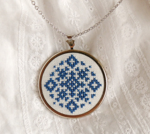 Custom color Hand embroidered necklace geometrical by skrynka, $30.60