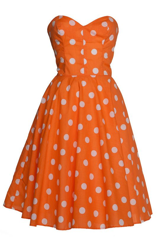 Orange Polka dot 50s Inspired Full Circle Rockabilly Dress  by Style Icon's Closet 50s style Vintage Inspired Pin-Up African Print Retro Rockabilly Clothing £49.00