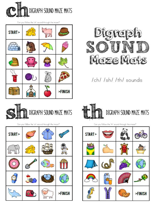 Printable Digraph Sound Mazes - ch sh th sounds