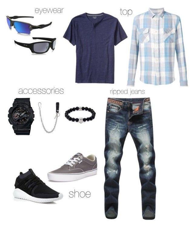 """Indra's Casual Gigs"" by arini-lioni on Polyvore featuring Levi's, adidas, Vans, G-Shock, Northskull, Dsquared2, Oakley, Banana Republic, men's fashion and menswear"