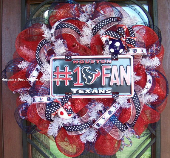 Houston Texans Football Deco Mesh Wreath by myfriendbo on Etsy, $75.00