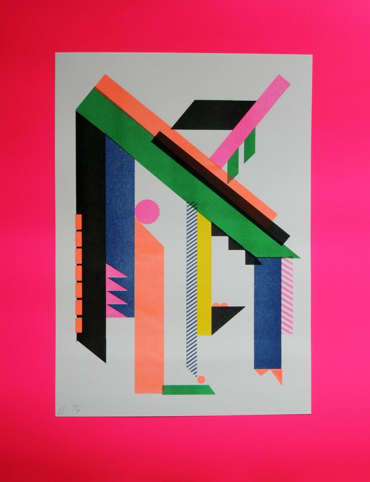 Six Colour Abstract Risograph Print Limited Edition Of Each One Is Signed And Numbered By The Artist
