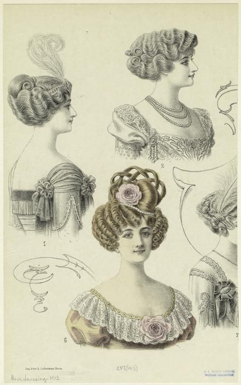 Hairstyles for women, France, (1913)